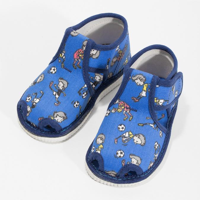 Granatowe wzorzyste kapcie dziecięce za kostkę bata, niebieski, 179-9212 - 16