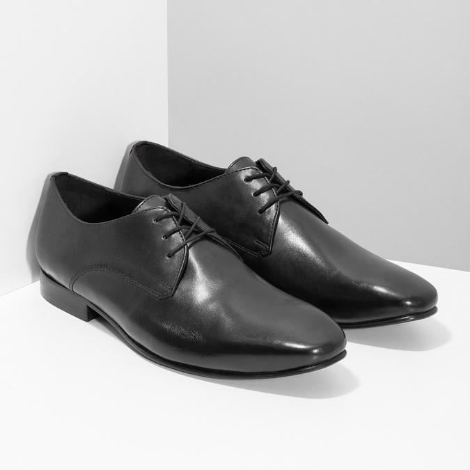 Czarne skórzane półbuty typu angielki bata, czarny, 824-6606 - 26