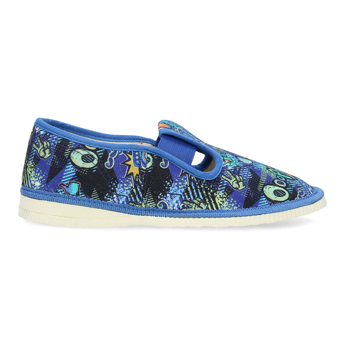 Niebieskie wzorzyste kapcie dziecięce bata, niebieski, 379-9125 - 19
