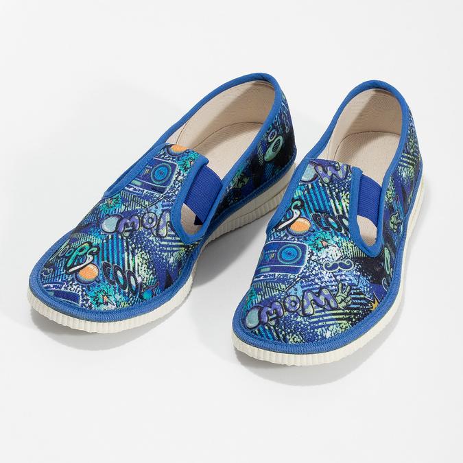 Niebieskie wzorzyste kapcie dziecięce bata, niebieski, 279-9124 - 16