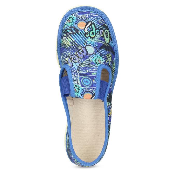 Niebieskie wzorzyste kapcie dziecięce bata, niebieski, 279-9124 - 17