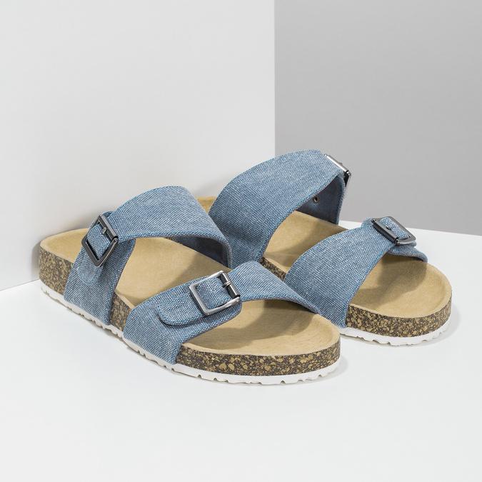 Niebieskie korkowe klapki damskie bata, niebieski, 579-9625 - 26