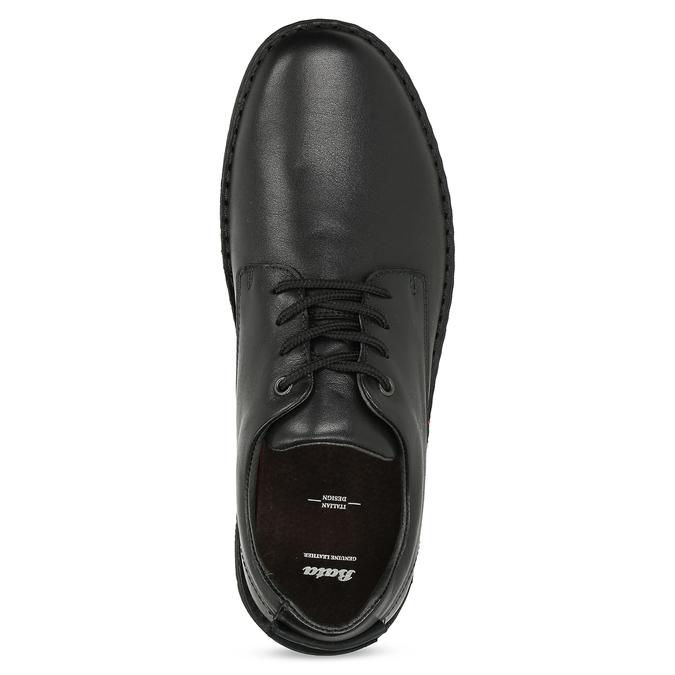 Czarne skórzane półbuty męskie bata, czarny, 824-6630 - 17