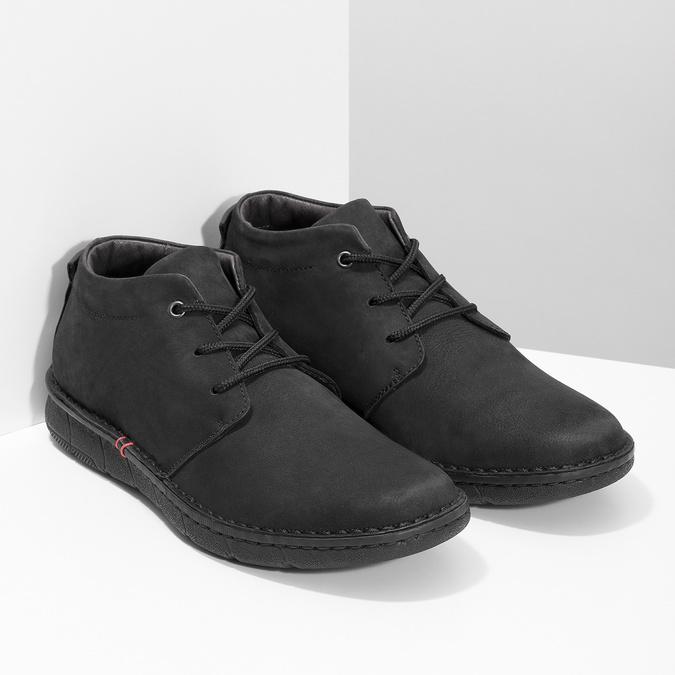 Czarne skórzane obuwie męskie za kostkę bata, czarny, 846-6716 - 26