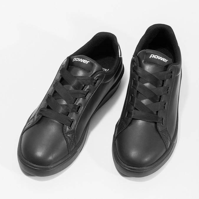 Czarne trampki damskie ze srebrnymi detalami power, czarny, 501-6168 - 16
