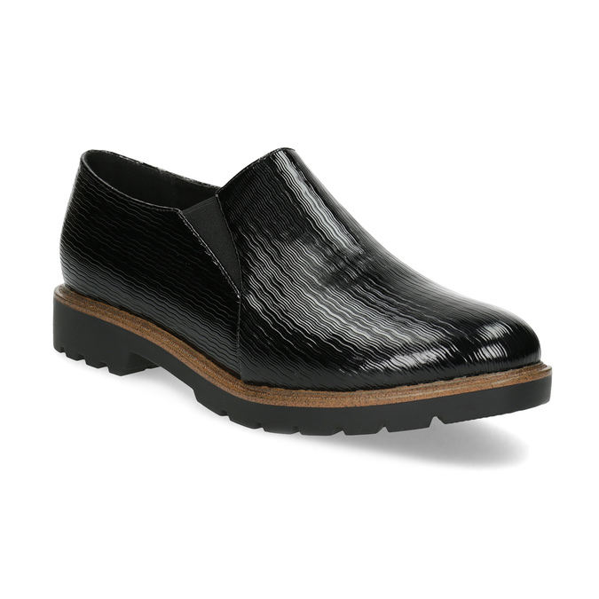 Obuwie damskie typu slip-on zfakturą bata, czarny, 511-6612 - 13