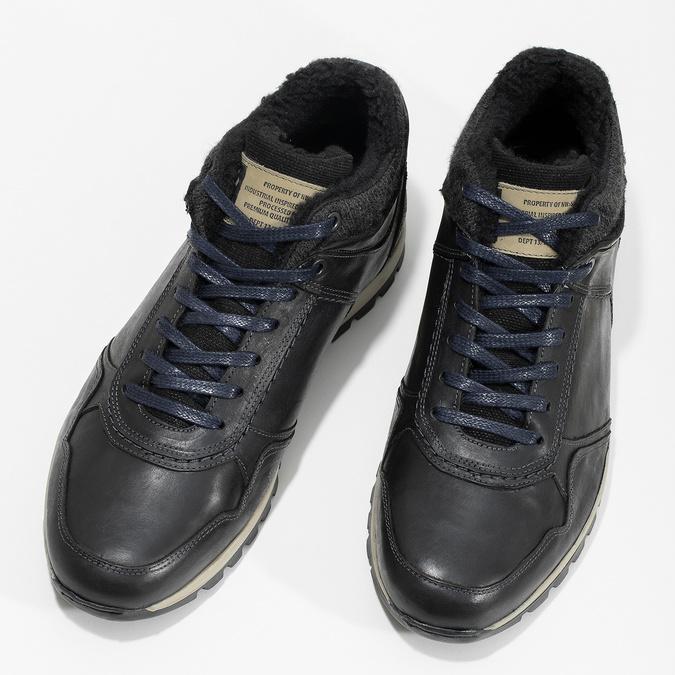 Skórzane trampki męskie zociepliną bata, czarny, 846-6646 - 16