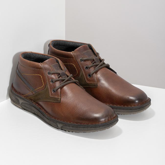 Skórzane obuwie męskie za kostkę bata, brązowy, 846-4718 - 26