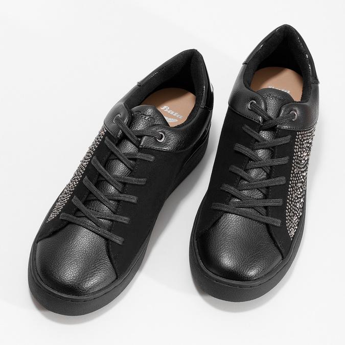Czarne damskie tenisówki z ćwiekami, czarny, 549-6611 - 16