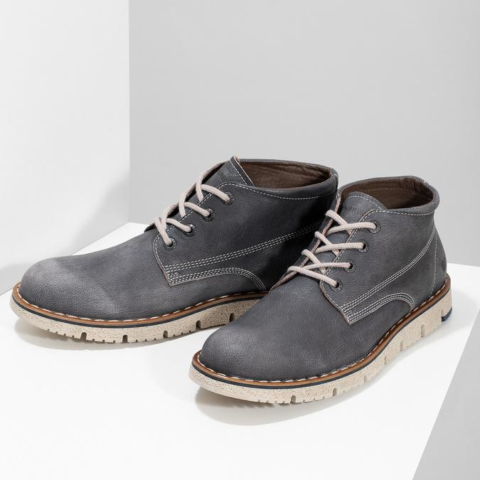 Skórzane obuwie męskie za kostkę weinbrenner, niebieski, 846-2658 - 16