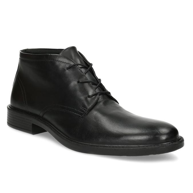 Czarne buty męskie za kostkę zgładkiej skóry comfit, czarny, 824-6822 - 13