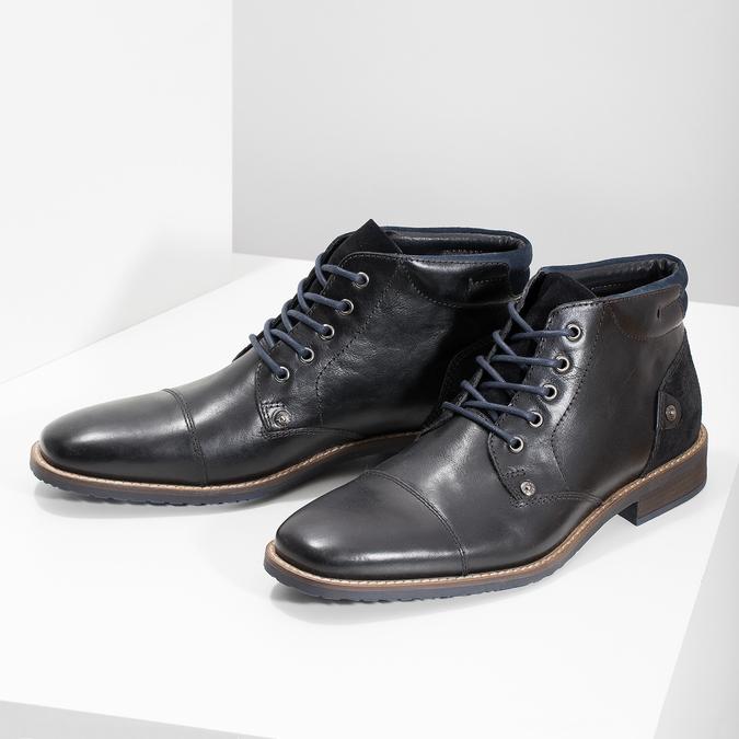 Skórzane obuwie męskie za kostkę bata, czarny, 826-6611 - 16