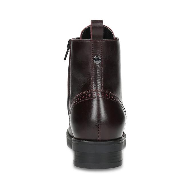 Skórzane damskie botki bordowe flexible, czerwony, 596-5695 - 15