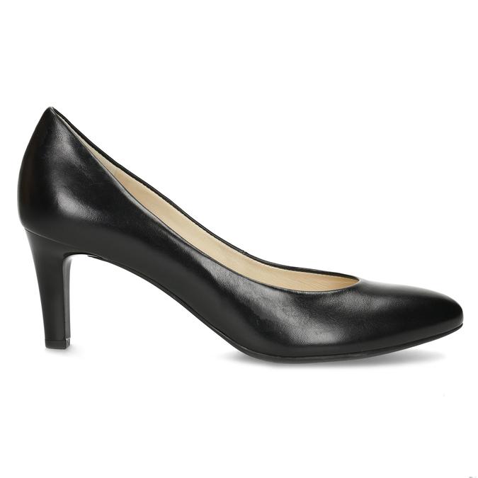 Czarne skórzane czółenka damskie hogl, czarny, 724-6085 - 19