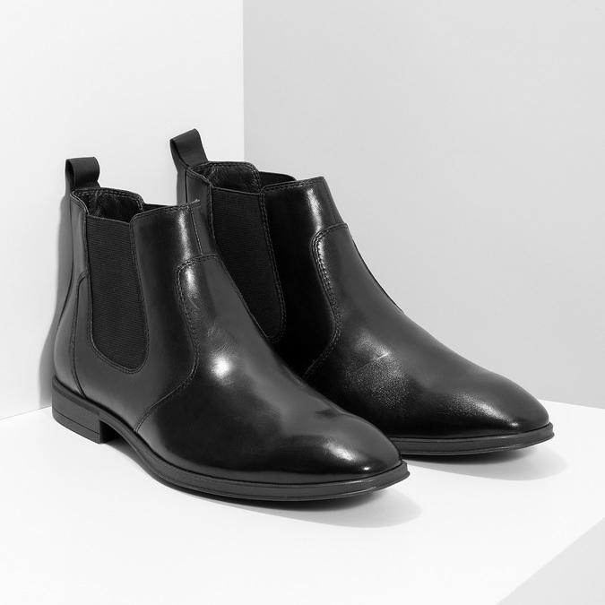 Skórzane obuwie męskie za kostkę typu chelsea bata, czarny, 824-6890 - 26