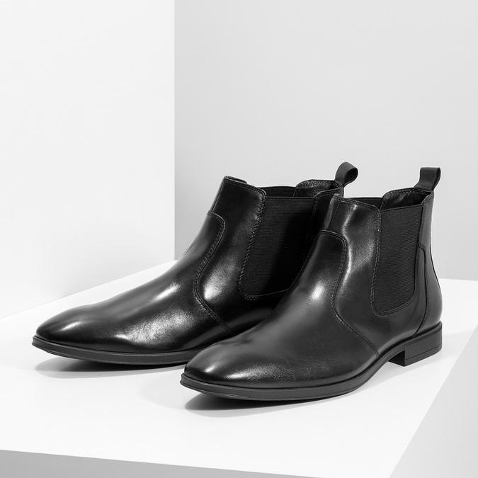 Skórzane obuwie męskie za kostkę typu chelsea bata, czarny, 824-6890 - 16