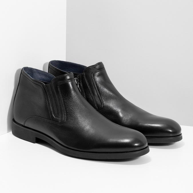 Skórzane obuwie męskie za kostkę, zprzeszyciami bata, czarny, 824-6621 - 26