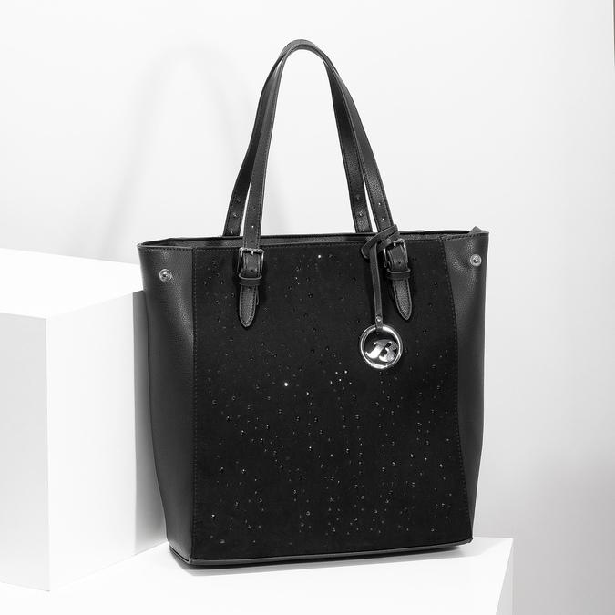 Czarna torebka zkryształkami, wstylu tote bag bata, czarny, 969-6875 - 17