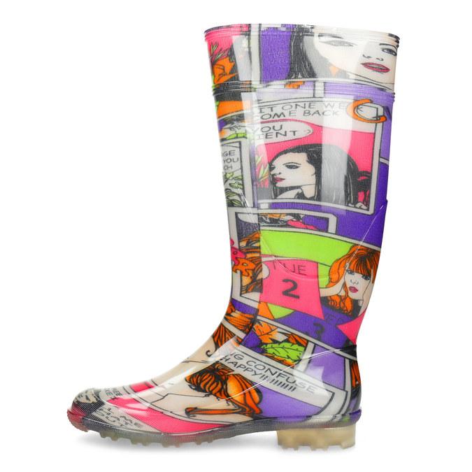 Komiksowe kalosze damskie bata, multi color, 592-0606 - 17