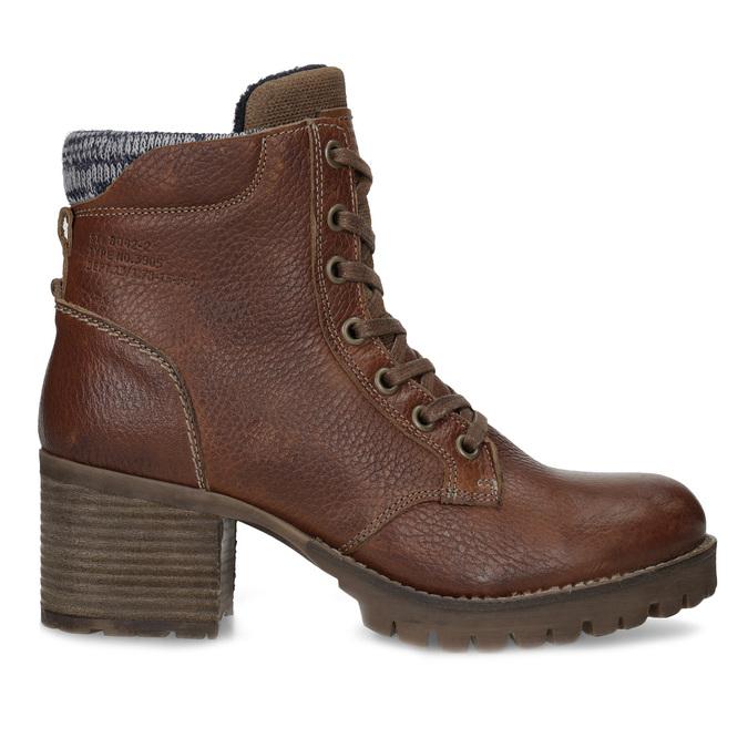 Brązowe skórzane botki zdzianiną bata, brązowy, 696-4665 - 19