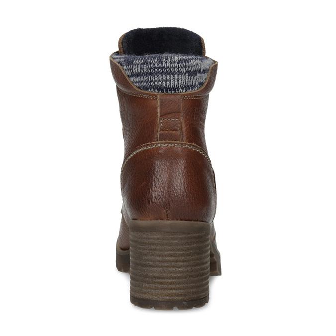 Brązowe skórzane botki zdzianiną bata, brązowy, 696-4665 - 15