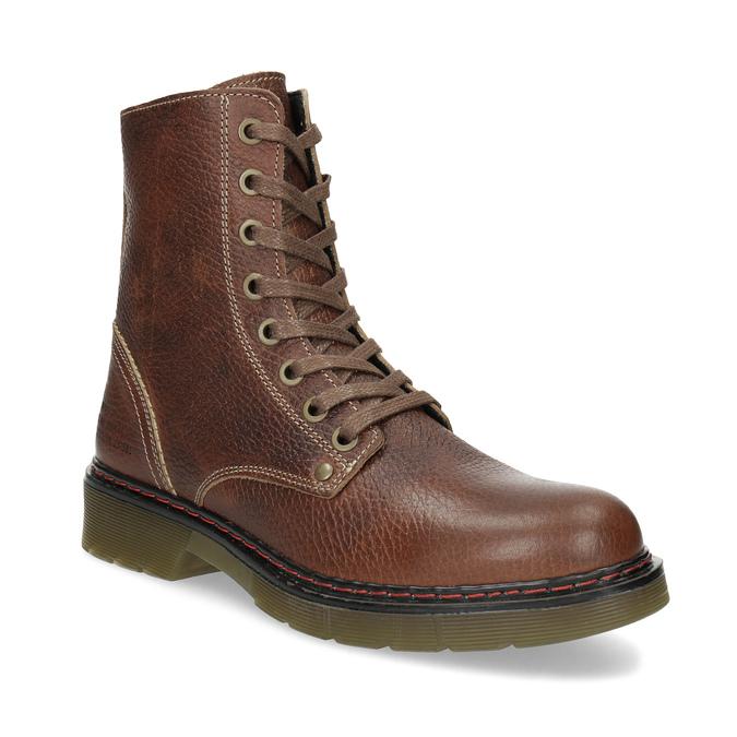 Brązowe skórzane botki damskie bata, brązowy, 596-4732 - 13