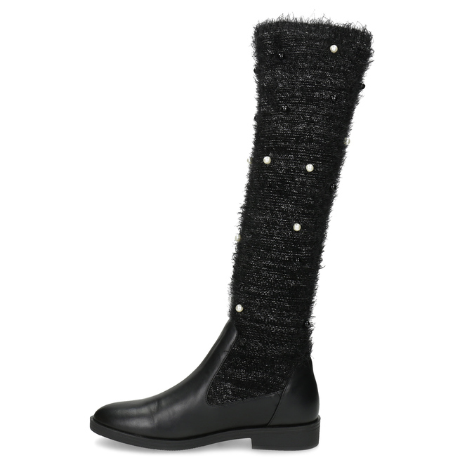 Czarne kozaki zperełkami bata, czarny, 599-6619 - 17