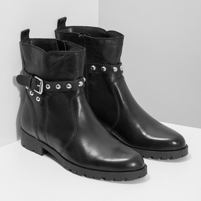 Czarne skórzane kozaki zmetalowymi ćwiekami bata, czarny, 594-6671 - 26