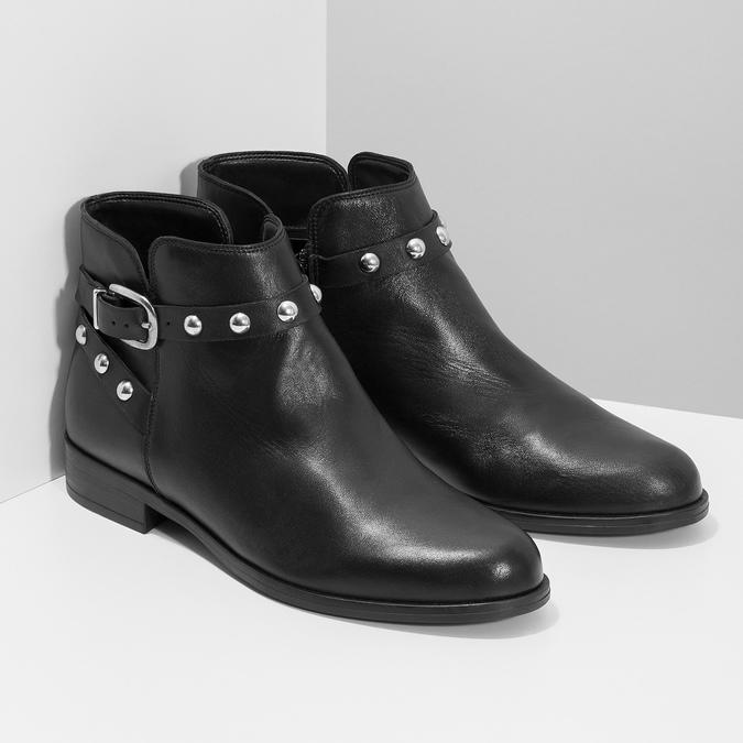 Skórzane botki zmetalowymi ćwiekami bata, czarny, 594-6668 - 26