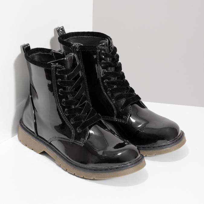 Czarne lakierowane botki dziewczęce mini-b, czarny, 391-6259 - 26