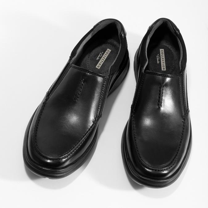 Czarne skórzane mokasyny męskie clarks, czarny, 814-6072 - 16
