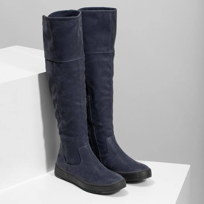 Granatowe kozaki damskie zprzeszyciami bata, niebieski, 691-9636 - 26