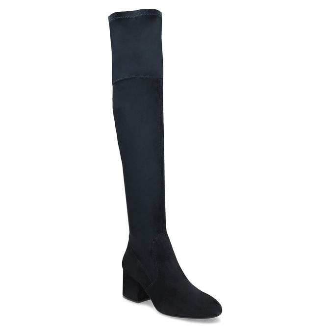 Granatowe kozaki damskie za kolana bata, niebieski, 793-9614 - 13