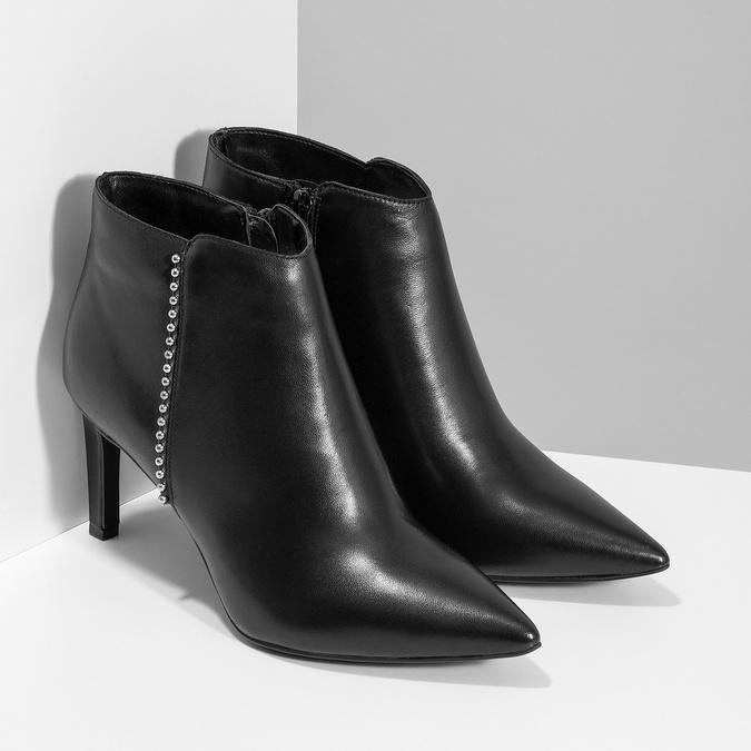 Skórzane botki zmetalową aplikacją bata, czarny, 796-6659 - 26