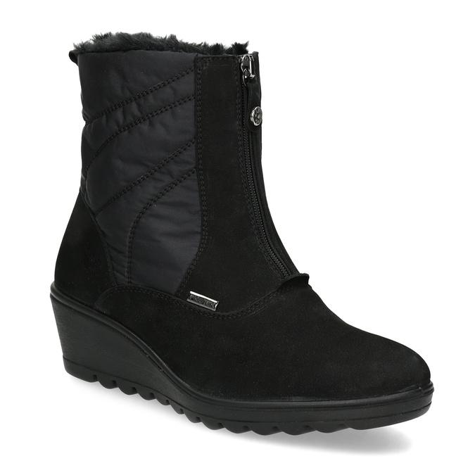 Czarne botki damskie zociepliną comfit, czarny, 699-6645 - 13