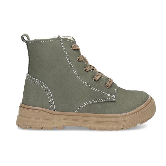 Skórzane zimowe obuwie dziecięce zprzeszyciami mini-b, khaki, 296-3600 - 19