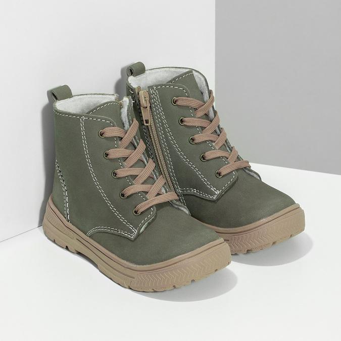 Skórzane zimowe obuwie dziecięce zprzeszyciami mini-b, khaki, 296-3600 - 26