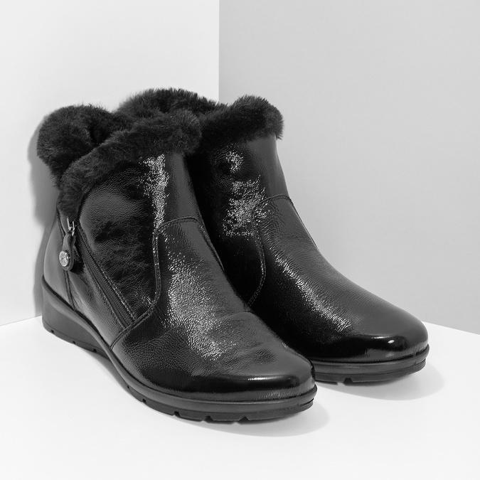 Skórzane kozaki damskie zfuterkiem comfit, czarny, 598-6605 - 26