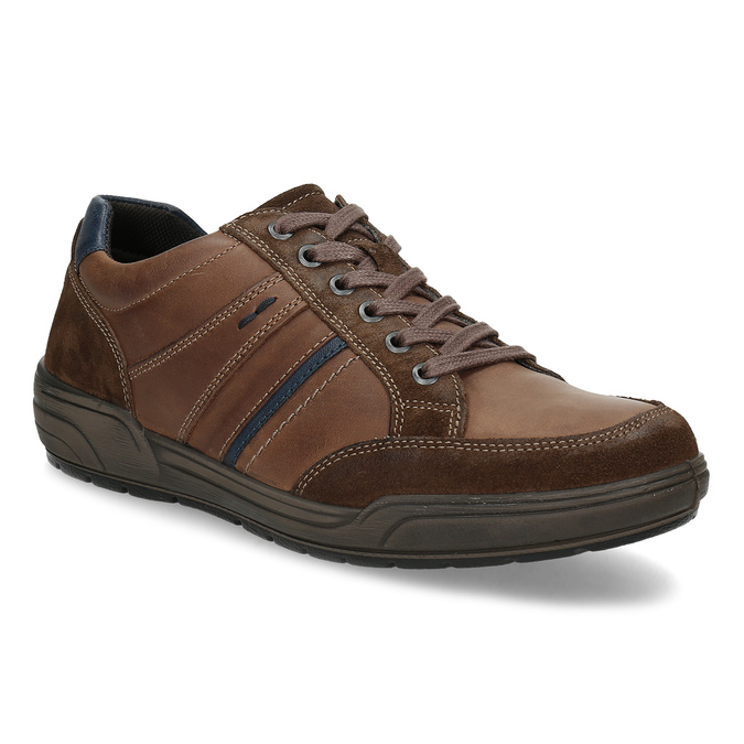 Brązowe skórzane trampki męskie bata, brązowy, 846-4714 - 13