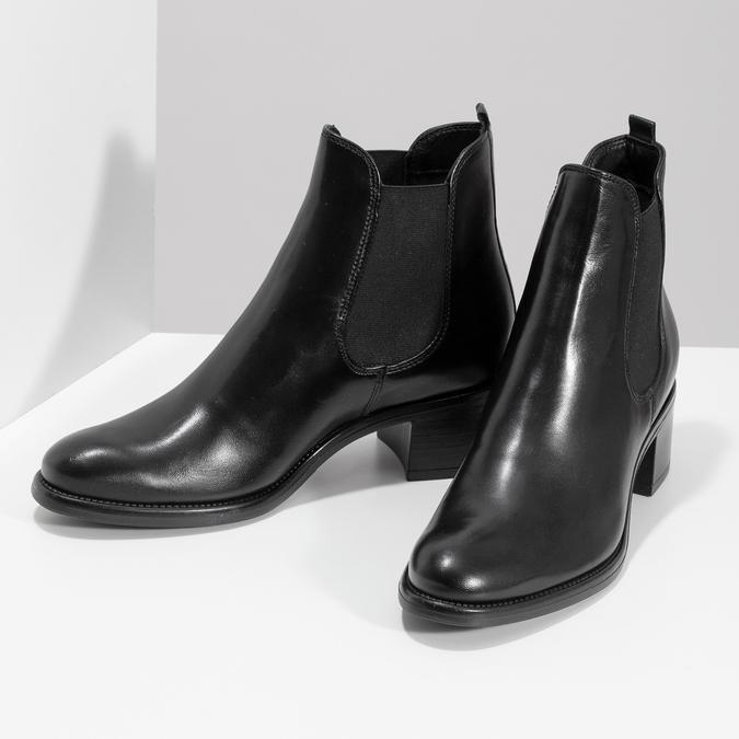 Skórzane botki damskie typu Chelsea, na obcasach bata, czarny, 694-6667 - 16