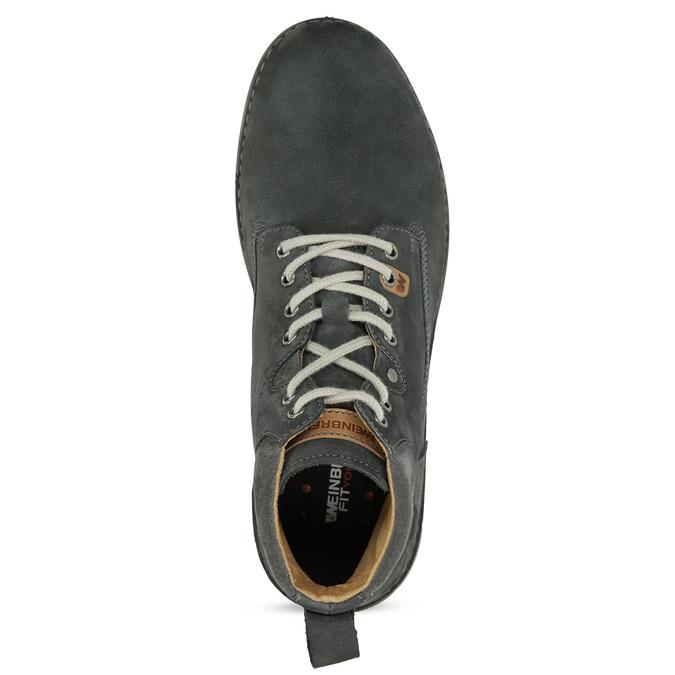 Skórzane obuwie męskie za kostkę, zprzeszyciami weinbrenner, szary, 846-6719 - 17