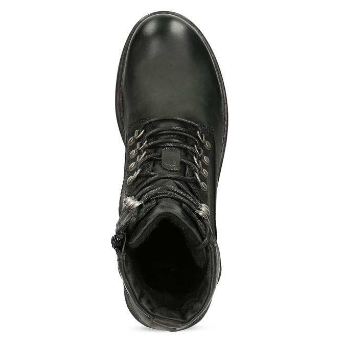 Czarne skórzane trzewiki męskie bata, czarny, 896-6743 - 17