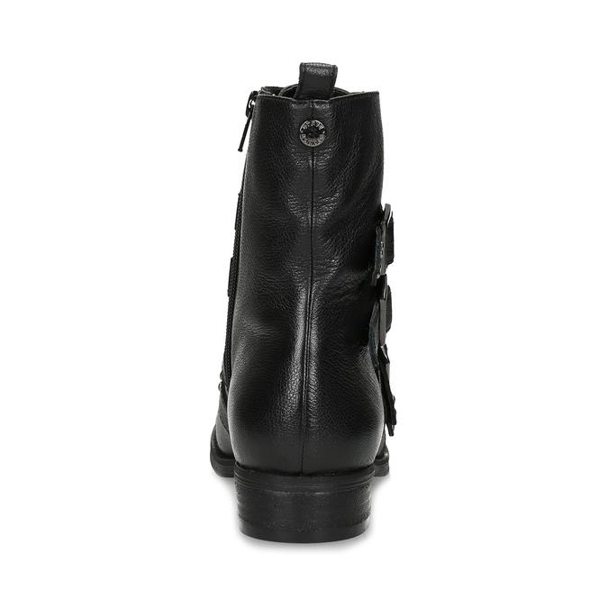 Czarne skórzane kozaki zmetalowymi ćwiekami steve-madden, czarny, 514-6025 - 15