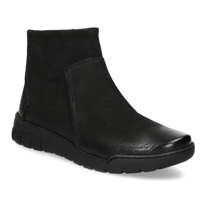 Skórzane botki damskie bata, czarny, 596-6706 - 13