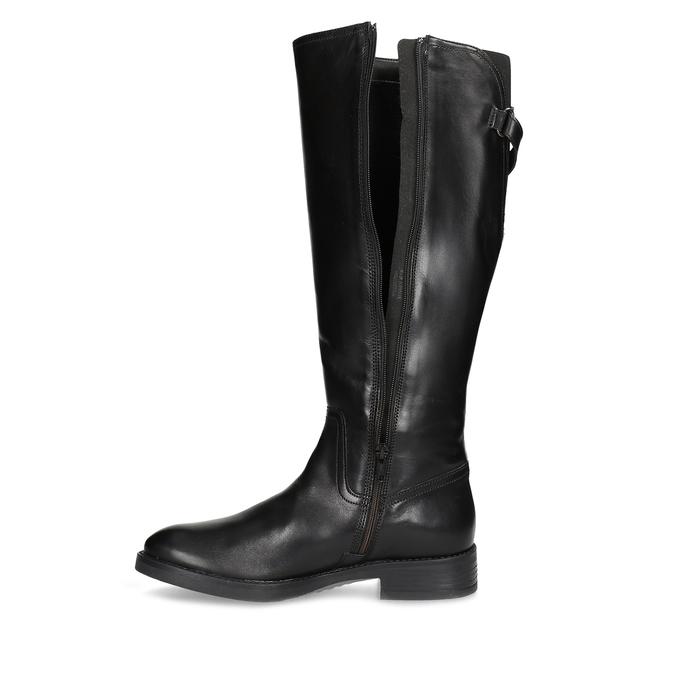 Czarne skórzane kozaki zklamrami bata, czarny, 594-6678 - 17