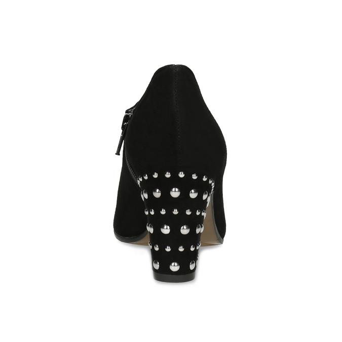 Skórzane botki damskie zćwiekami bata, czarny, 723-6661 - 15