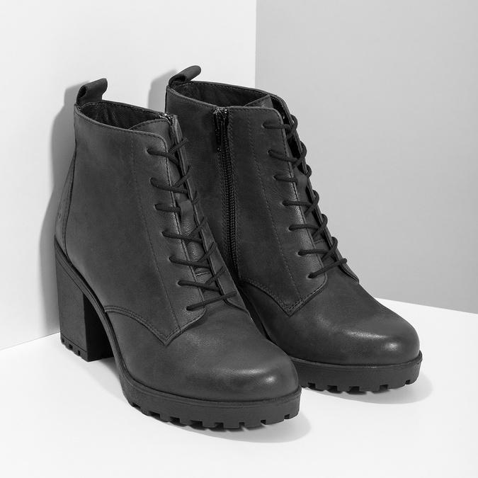 Skórzane sznurowane botki damskie bata, czarny, 796-6653 - 26