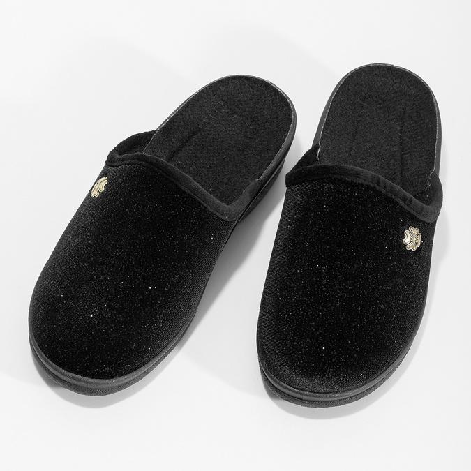 Czarne kapcie damskie bata, czarny, 579-6631 - 16