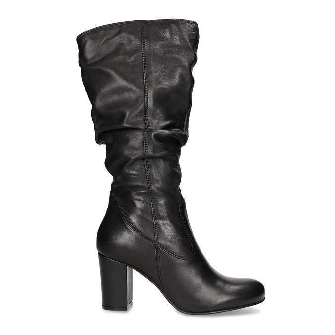 Skórzane kozaki damskie zpomarszczoną cholewką bata, czarny, 794-6664 - 19