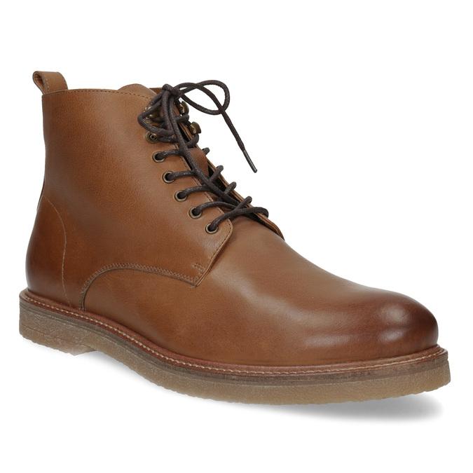 Brązowe skórzane obuwie męskie za kostkę bata, brązowy, 896-3721 - 13